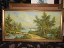 "LARGE GILT FRAMED ORIGINAL SIGNED OIL PAINTING I. CAFIERI COTTAGE LAKE 39"" X 21"""